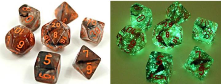 Chessex Lab Dice 4: Nebula Polyhedral Copper Matrix/Orange Luminary 7-Die Set [Limited/Allocated]