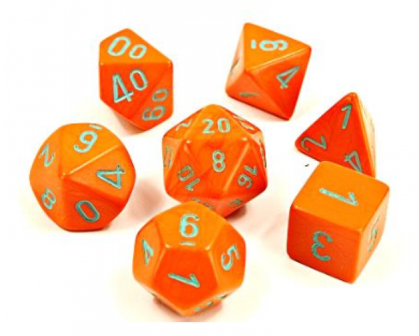 Chessex Lab Dice 4: Heavy™Dice Polyhedral Orange/Turquoise 7-Die Set [Limited/Allocated]