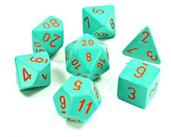 Chessex Lab Dice 4: Heavy™Dice Polyhedral Turquoise/Orange 7-Die Set [Limited/Allocated]