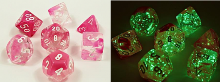 Chessex Lab Dice 4: Gemini Polyhedral  Clear-Pink/White Luminary 7-Die Set [Limited/Allocated]