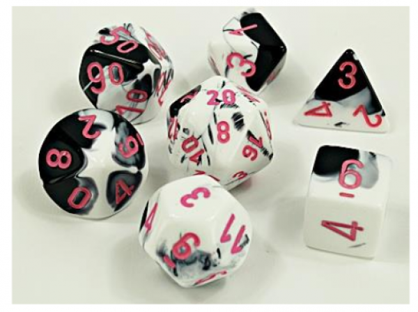Chessex Lab Dice 4: Gemini Polyhedral Black-White/Pink 7-Die Set [Limited/Allocated]