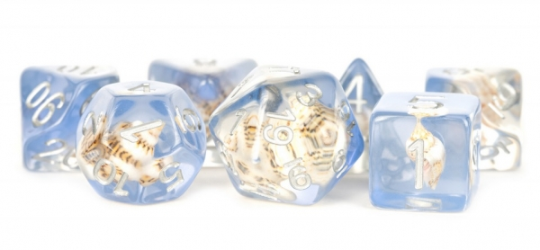 Polyhedral Dice Set: (16mm Resin) Sea Conch (7 die set)