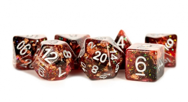 Polyhedral Dice Set: (Resin) Eternal Dice Set - Fire  (7 die set)