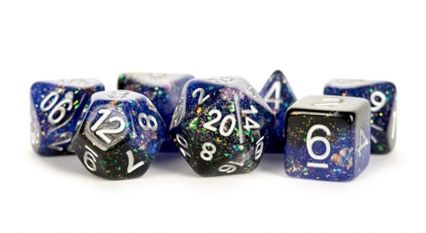 Polyhedral Dice Set: (Resin) Eternal Dice Set - Blue/Black (7 die set)
