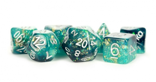 Polyhedral Dice Set: (Resin) Eternal Dice Set - Teal/Black (7 die set)