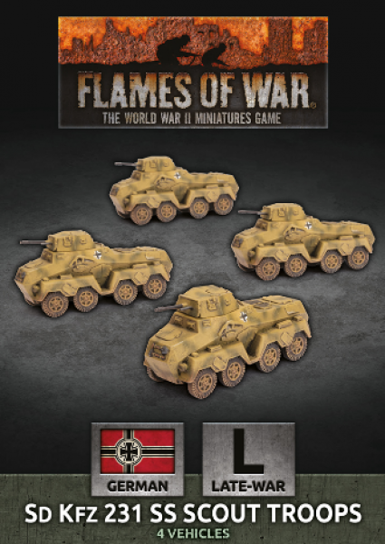 Flames Of War (WWII): (German) Sd Kfz 231 SS Scout Troop (x4)