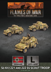 Flames Of War (WWII): (German) Sd Kfz 221 and 222 SS Scout Troop (x3 Plastic)
