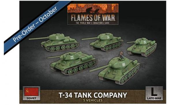 Flames Of War (WWII): (Soviet) T-34 Tank Company (Late War) (x5 Plastic)