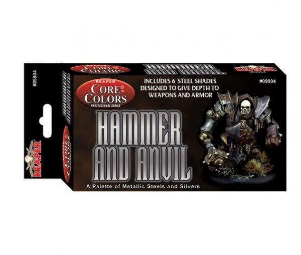 Reaper Fast Palette Paint Set: Hammer and Anvil - Steel Metallics (6)