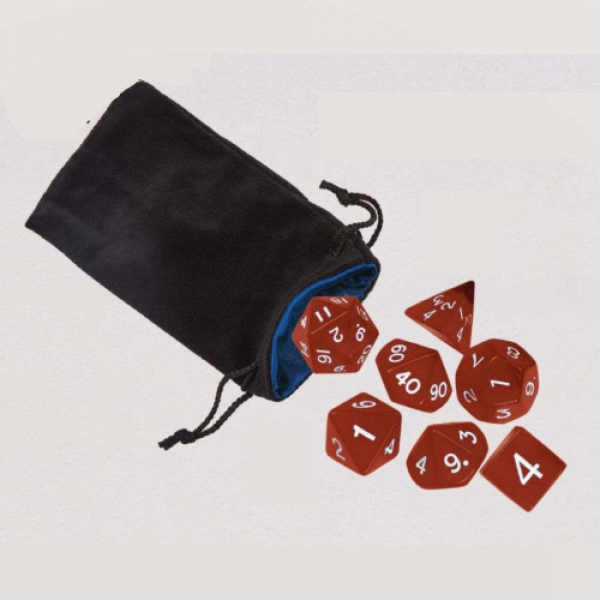 Koplow RPG Dice Set: Transparent Dice Set in Bag - Red with White Numbers