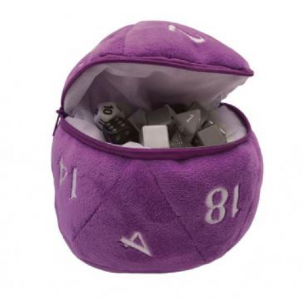 D20 Plush Dice Bag - Purple