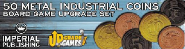 Board Game Accessories: 50 Metal Coins (Industrial Style)