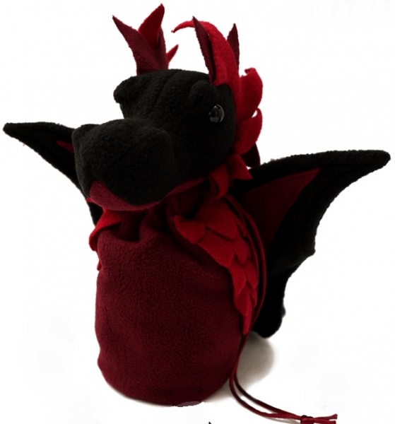 Dragon Bagons: Plush Dragon Dice Bag (Black/Red)