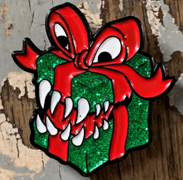 Creature Curation Enamel Pin: Mimic Present – Xmas