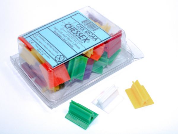 Chessex Gaming Components: 18x20mm Rectangle Card Stands - Assorted Colors (35)