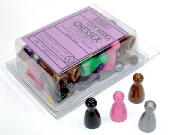 Chessex Gaming Components: 12x24mm Milk Bottle Pawns - Assorted Colors (50)