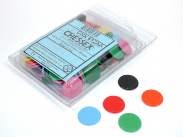 Chessex Gaming Components: 16mm Opaque Bingo Chips - Assorted Colors (100)