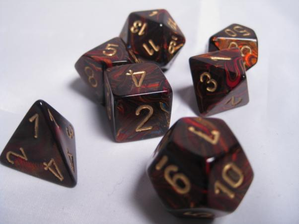 Chessex RPG Dice Sets: Blue Blood/Gold Scarab Polyhedral 7-Die Set