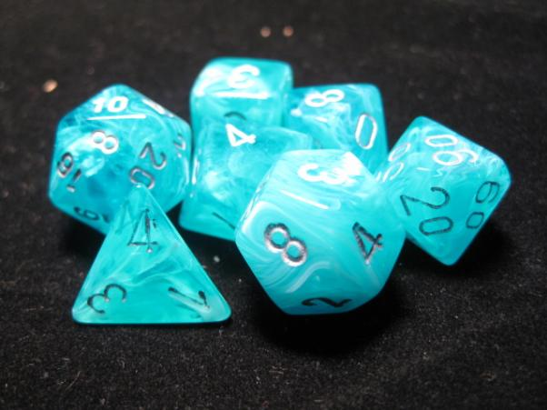 Chessex RPG Dice Sets: Aqua/Silver Cirrus Polyhedral 7-Die Set