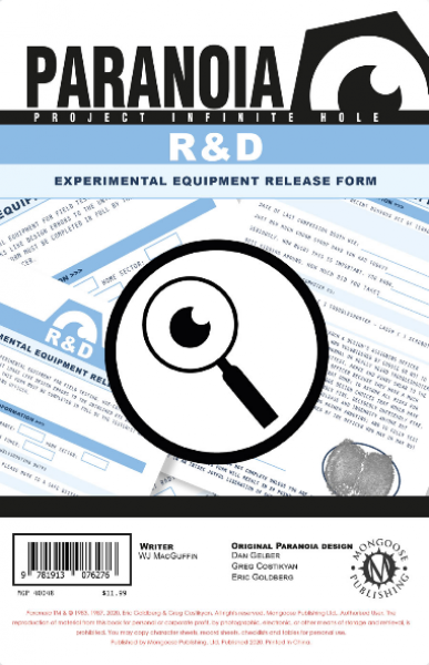 Paranoia RPG: The R & D Experimental Equipment Release Form Pad