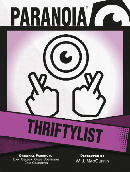 Paranoia RPG: Thriftylist Card Deck