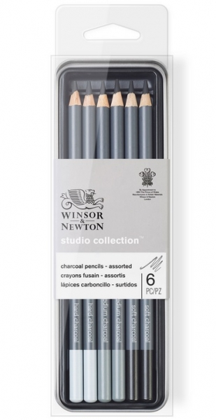 Winsor & Newton: Studio Collection Charcoal Pencil Tin - Assorted (6pc)