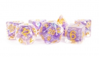 Polyhedral Dice Set: (Resin) Pearl Purple Poly Set - Purple w/ Gold Numbers 7-die set (16mm)