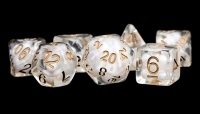 Polyhedral Dice Set: (Resin) Pearl Poly Set - Pearl w/ Copper Numbers 7-die set (16mm)