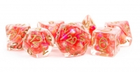 Polyhedral Dice Set: (Resin) Pearl Poly Set - Pearl Red w/ Copper Numbers 7-die set (16mm)