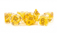 Polyhedral Dice Set: (Resin) Pearl Poly Set - Pearl Citrine w/ Copper Numbers 7-die set (16mm)