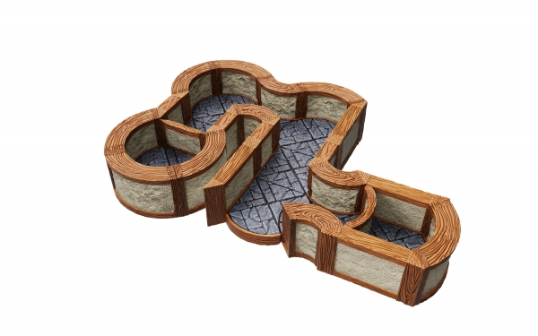 WarLock Dungeon Tiles: Expansion Pack - 1 in Town & Village Angles & Curves