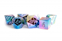 Aluminum Plated Acrylic 16mm Poly Dice Set - Rainbow Aegis Uninked