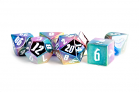 Aluminum Plated Acrylic 16mm Poly Dice Set - Rainbow Aegis w/ White Numbers