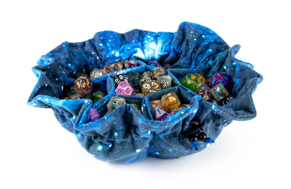 Dice Bags: Velvet Compartment Dice Bag with Pockets - Galaxy