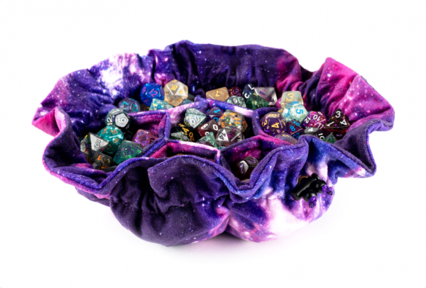 Dice Bags: Velvet Compartment Dice Bag with Pockets - Nebula