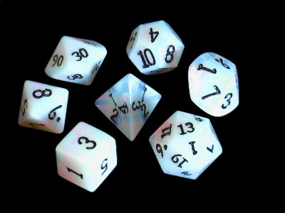 Dwarven Stone Dice: 12mm Synthetic Opal Polyhedral 7-Die Set