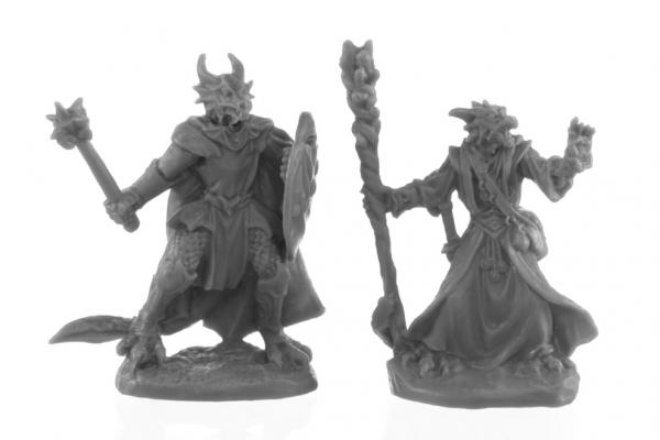 Reaper Bones Black: Dragonfolk Wizard and Cleric