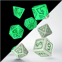 Exotic Dice: Digital Glowing Dice Set Radiant & Green (7)