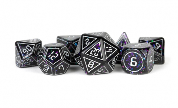 Metallic Dice: 16mm RESIN Polyhedral Dice Set - Framed Void (7)