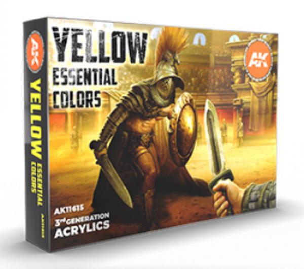 AK-Interactive: 3rd Gen Acrylics - Yellow Essential Colors Set