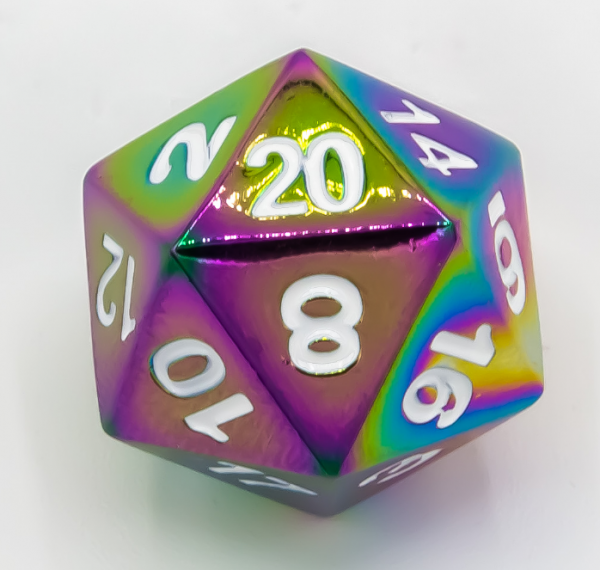 Single Metal D20 - Rainbow with White numbers (1)