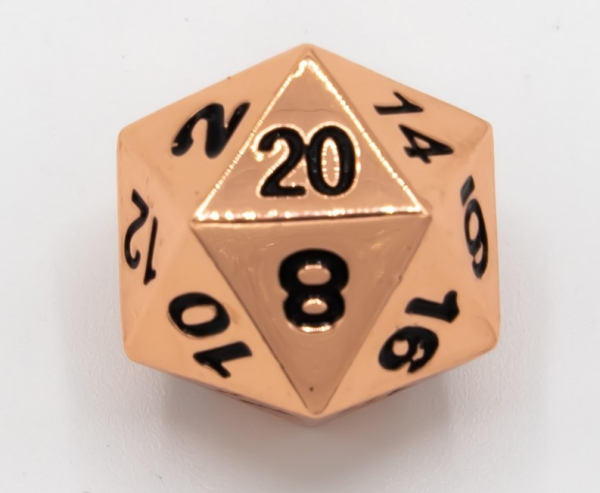 Single Metal D20 - Shiny Copper with Black numbers (1)