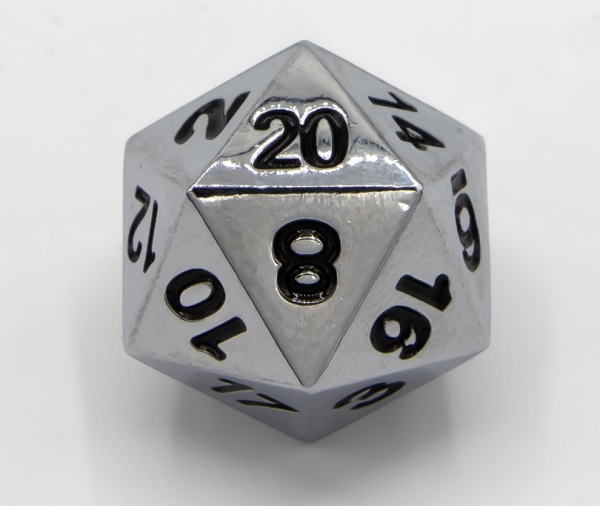 Single Metal D20 - Shiny Silver with Black numbers (1)