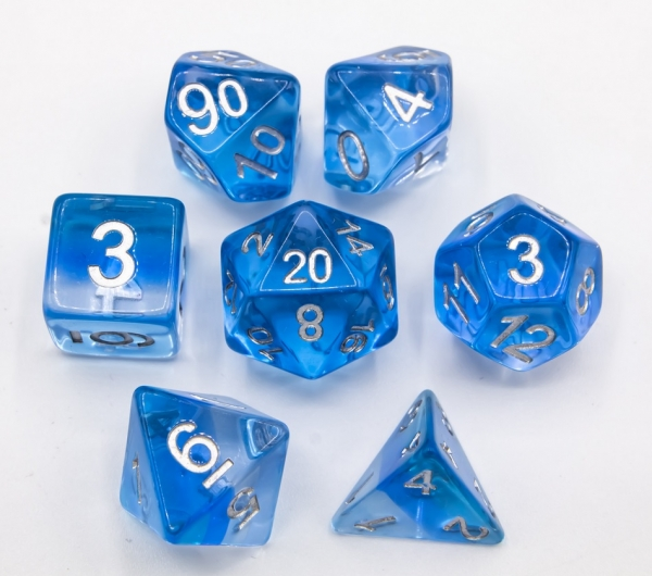 Ice Set of 7 Aurora Polyhedral Dice with Silver Numbers