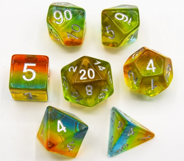 Southern Lights Set of 7 Aurora Polyhedral Dice with Silver Numbers