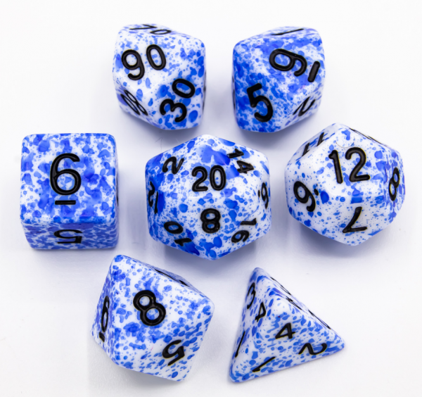 Blue Set of 7 Speckled Polyhedral Dice with Black Numbers