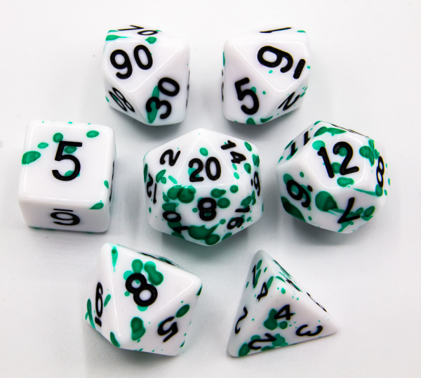 Green Set of 7 Speckled Polyhedral Dice with Black Numbers