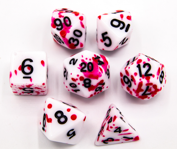 Red Set of 7 Speckled Polyhedral Dice with Black Numbers