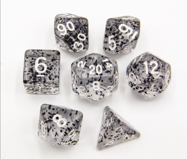 Black Set of 7 Glitter Polyhedral Dice with White Numbers