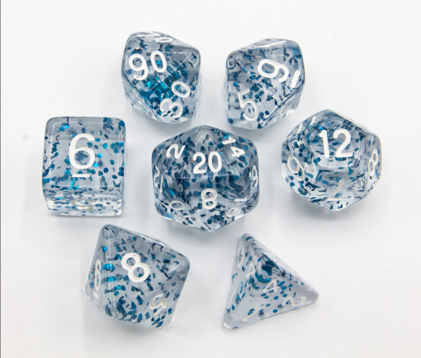 Blue Set of 7 Glitter Polyhedral Dice with White Numbers